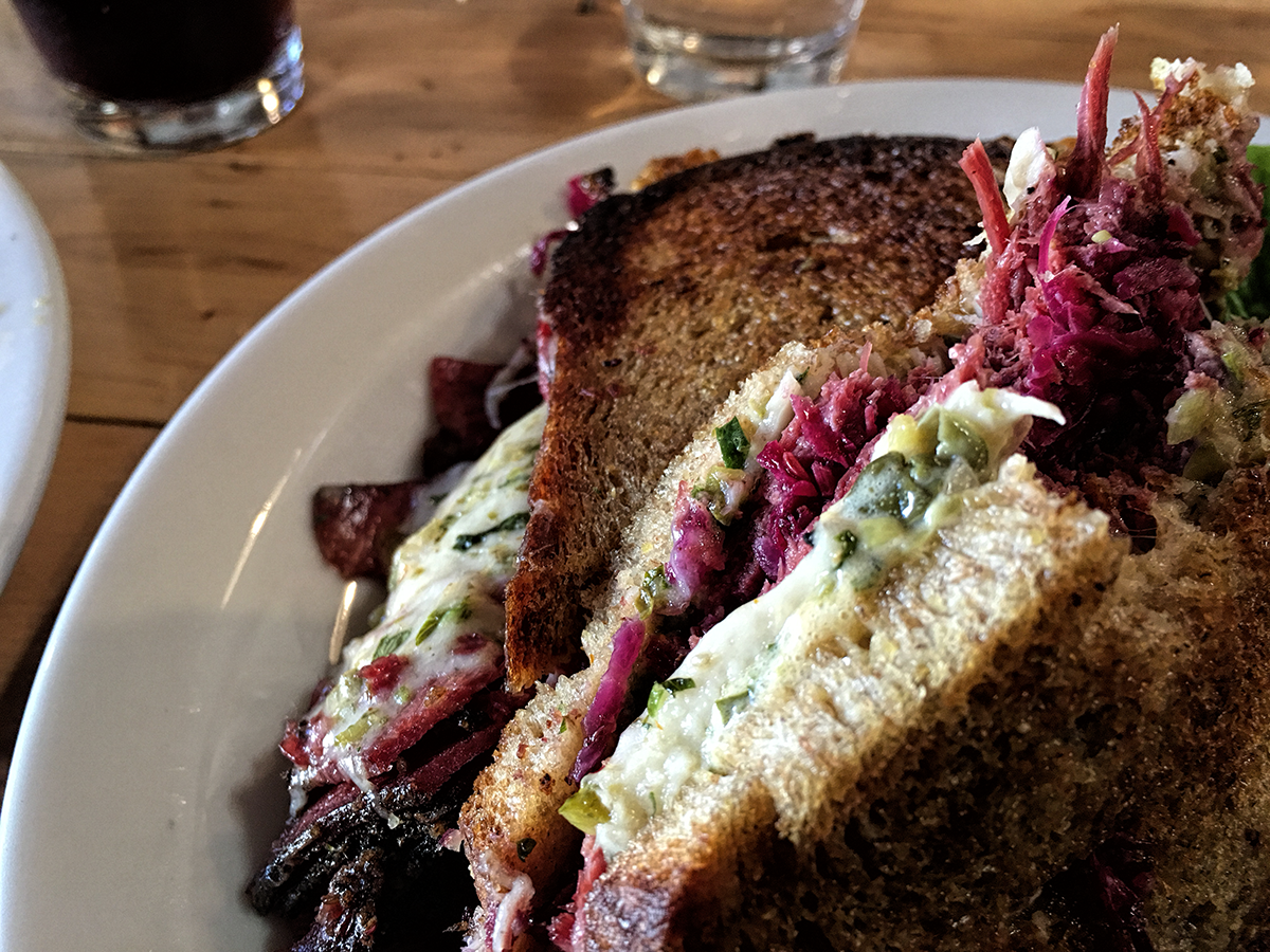 Wonderful Beef Tongue Pastrami sandwich. Who thought of that?!?