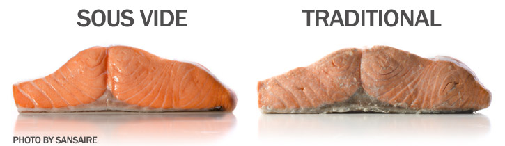 Sous Vide Salmon left, traditionally cooked Salmon, right.