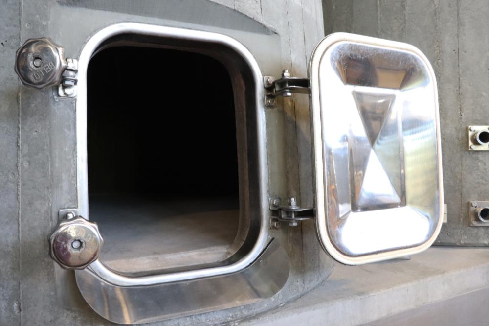 Inside a concrete tank