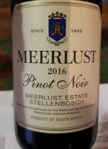 Meerlust 2016 Pinot Noir