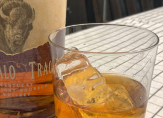 Bourbon and clear ice