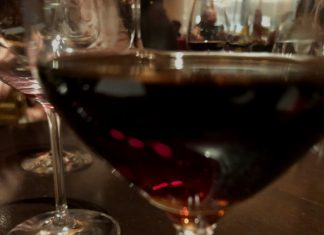 Deep red wine