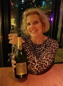 Laurel enjoying the wine!