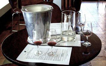 Wine Tasting Setup Including Spittoon