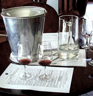 Wine Tasting Setup Including Spittoon